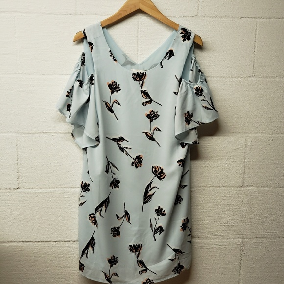 cefe74aa2c62 c&e Dresses | Nwt Cem Blue Floral Cold Shoulder Mini Dress | Poshmark